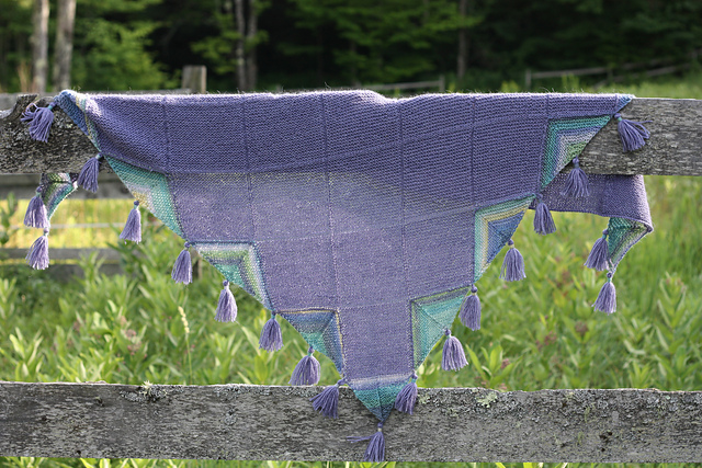Puka Shawl Knitting Pattern in Berroco Folio and Berroco Folio Color