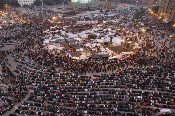Protest and prayer on Tahrir Square, Cairo Egypt