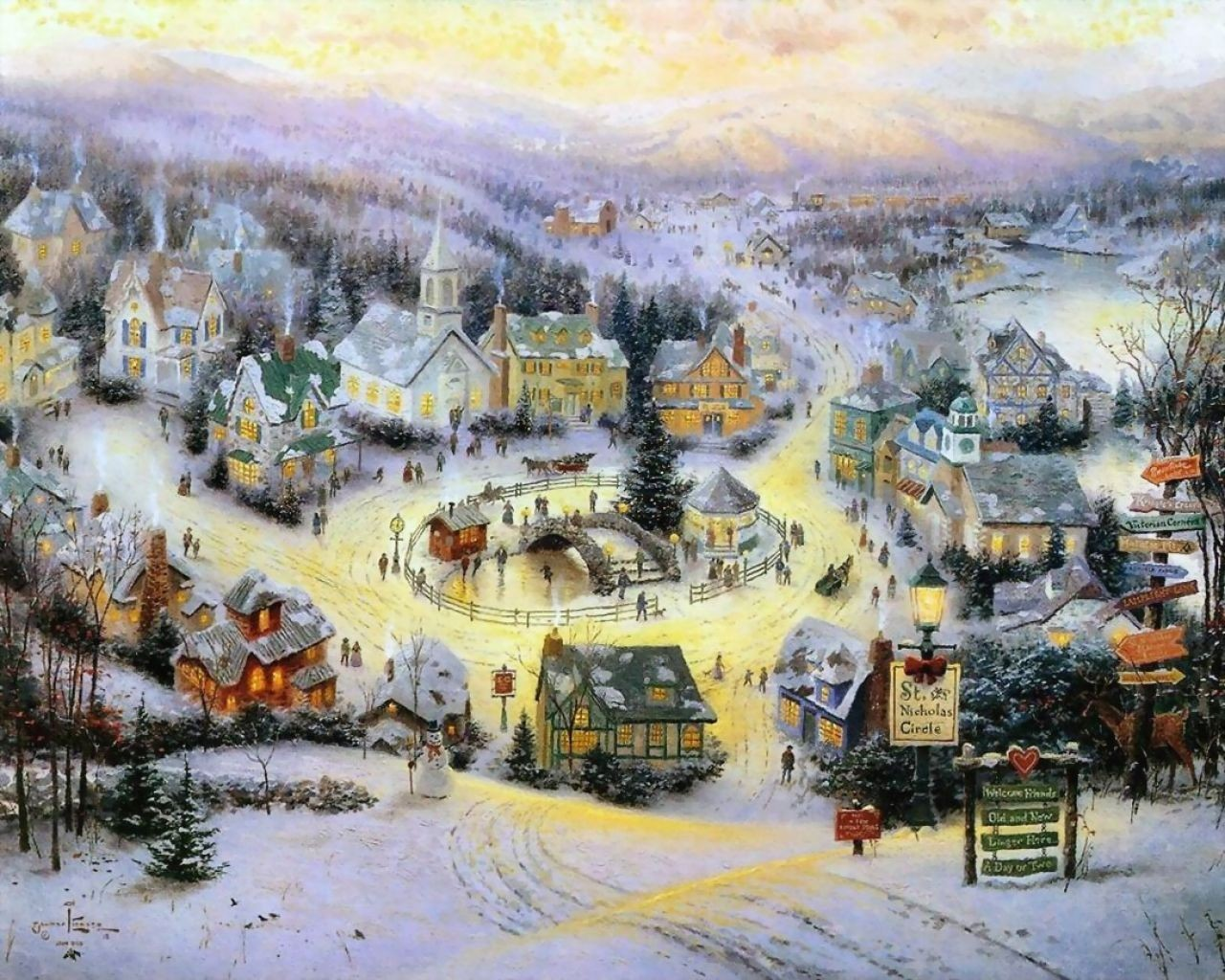 Winter Images Thomas Kinkade Winter HD Wallpaper And