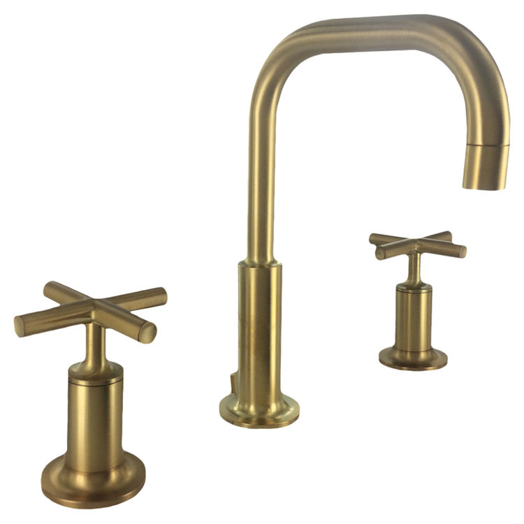 kohler k 14406 3 bgd purist widespread bathroom sink faucet low gooseneck cross handles brushed gold