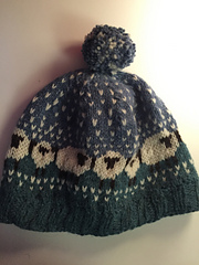 Baa-ble knitted hat with sheep design and pom pom