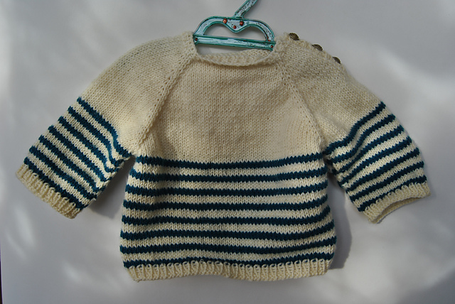 Pull de marin taille 6 mois pure laine tricot