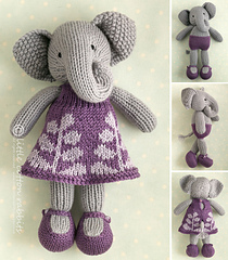 Girl knitted elephant in a dress