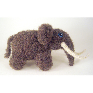 Knitted woolly mammoth elephant toy.