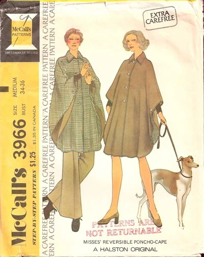 1970s cape pattern, McCall's 3966 by Halston