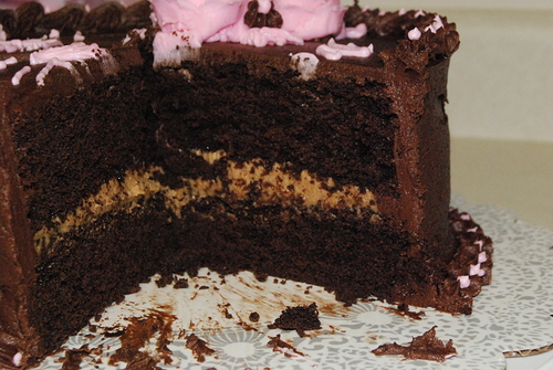 Chocolate Fudge Cake, Peanut Butter Frosting filling with Fudge ...
