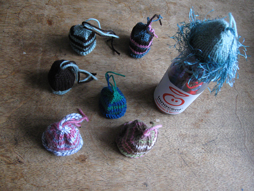 Innocent Smoothie Big Knit hats - click to go to my Ravelry page