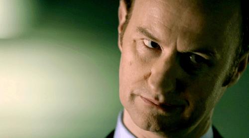 Actor Mark Gatiss looking very skeptical