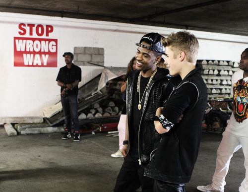 Justin Bieber and Big Sean on the set of As Long As You ...