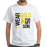 I Wear Gold Ribbon White T-Shirt