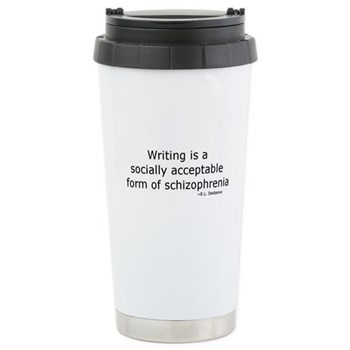 writing is a form of schizophrenia travel mug