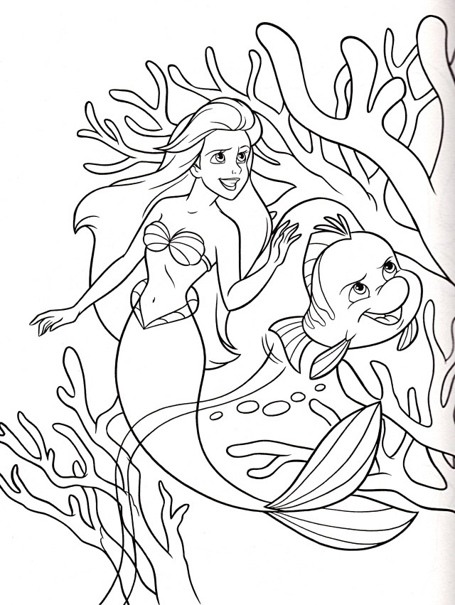 Walt Disney Coloring Pages - Princess Ariel & Flounder - Walt