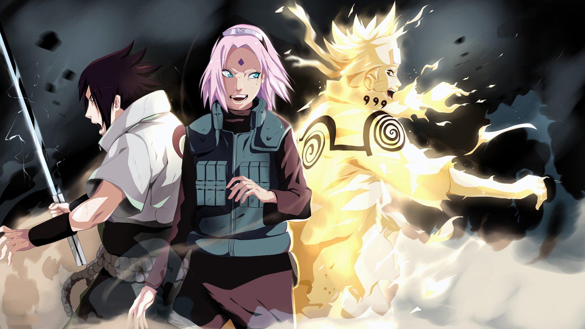 team 7: sasuke,sakura and naruto full hd wallpaper and background
