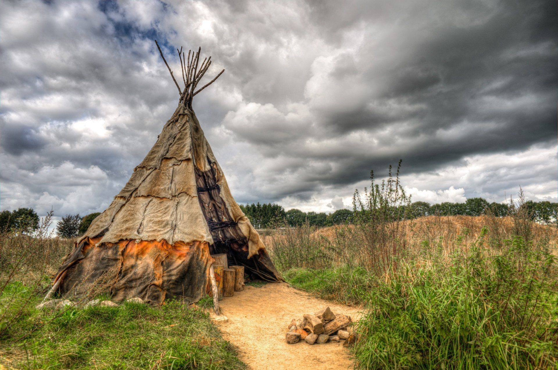 Native American Tipi Or Teepee Covered With Animal Skins