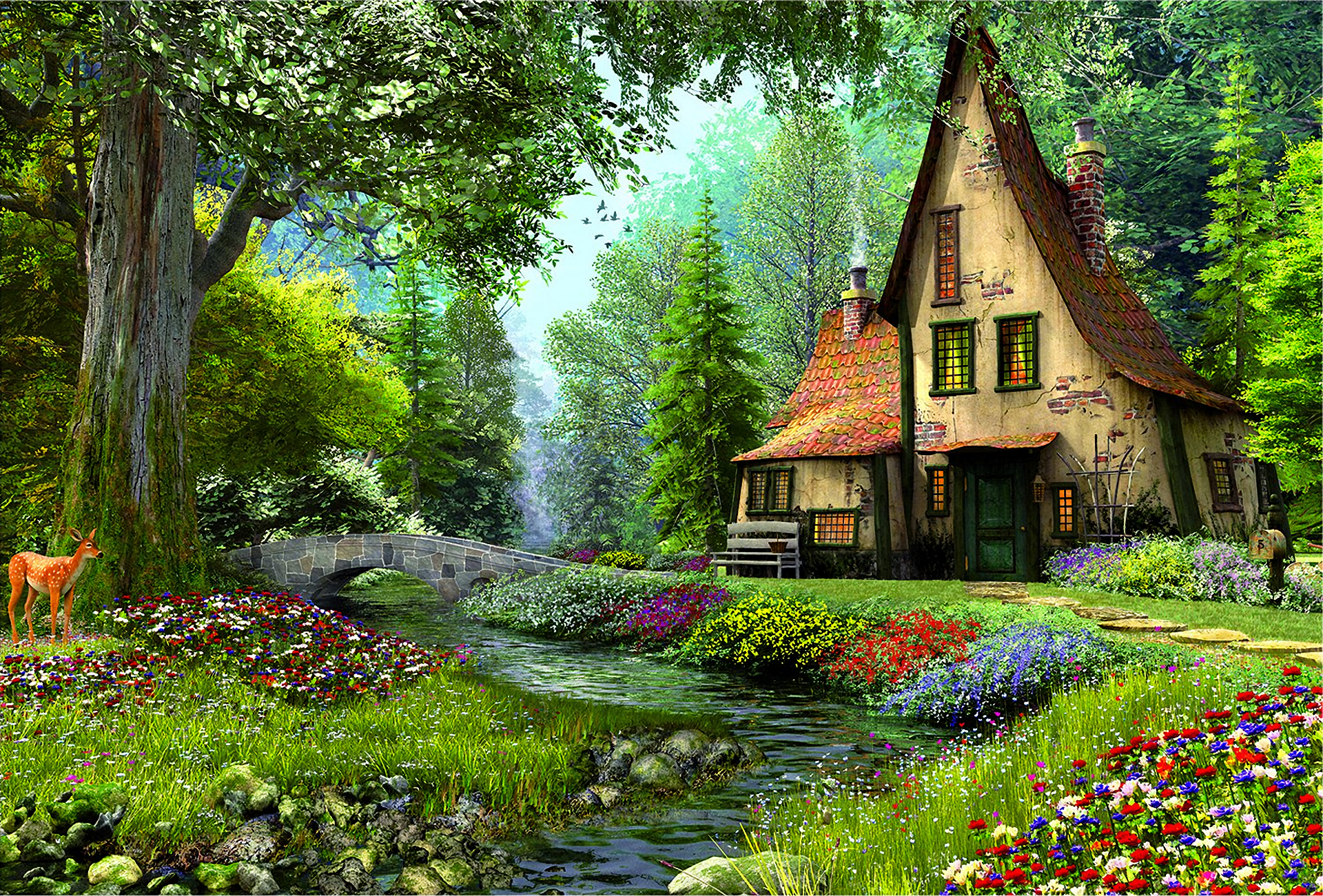 Fairytale House In The Forest Hd Wallpaper