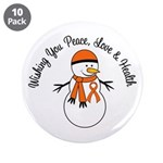 "Christmas Snowman Orange Ribbon 3.5"" Button (10 pa"