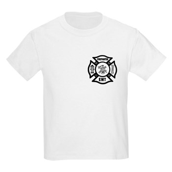 Firefighter EMT Maltese Kids Light T-Shirt