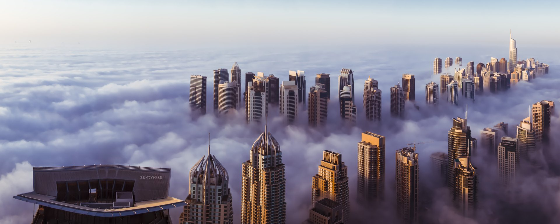 Man Made - Dubai Morning Fog Panorama United Arab Emirates Cloud Sheikh Zayed Avenue Wallpaper