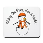 Christmas Snowman Orange Ribbon Mousepad