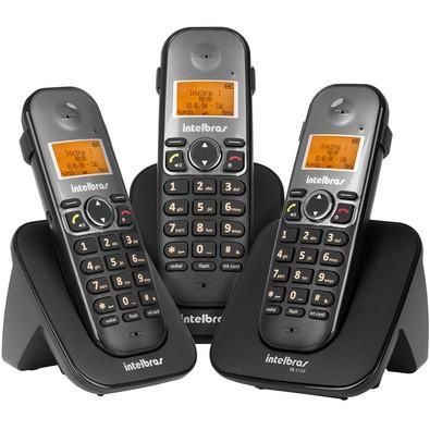 Telefone Intelbras sem Fio Digital com 2 Ramais Adicionais TS5123 Preto