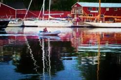 Man In Dingy Camden Harbor copy