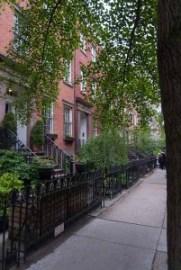 Chelsea, row of houses, iron gates, NYC