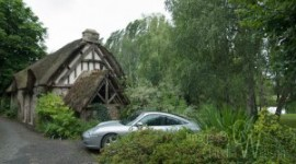 thatched roof cottage Normandy France