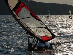 windsurfing, sandy hook, sundown