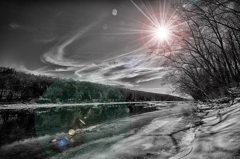 Sun, rays, hdr, reflection, monochrome, b&w