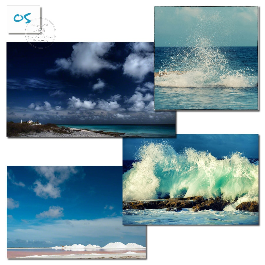 Bonaire, waves, clouds, splash, salt pans