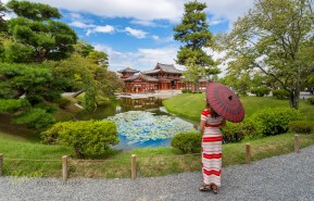 Landscape and portrait in front of what is considered one of the most beautiful temples in Japan, Byodoin, Kyoto.