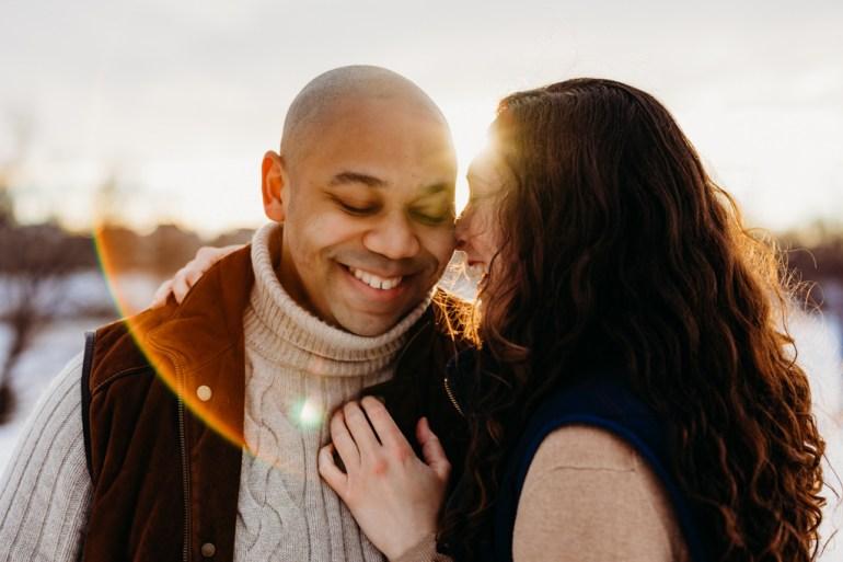 winter couples session, winter engagement photoshoot, boom island park winter, minnesota wedding photographer