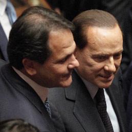 Saverio Romano e Silvio Berlusconi (Ansa)