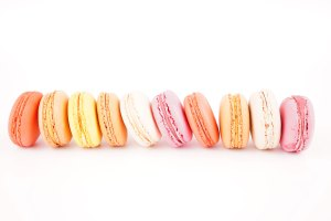 Sweet and colorful french macaroons or macaron