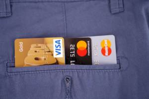 Credit cards in back pocket stock image