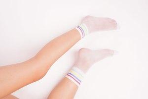 Female legs with white socks fashion