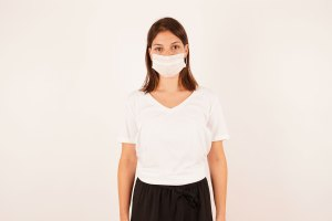 Girl in a medical face mask