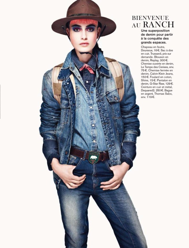 pauline2 Pauline Van der Cruysse Models Denim Fashion for Glamour France by Naomi Yang