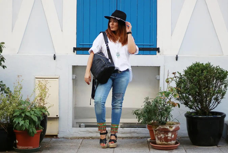 desigual, rue cremieux, colorful look, jean desigual, chemise zara, zara, jennyfer, sac desigual, sac à dos femme, chaussures pull and bear, asos, chapeau asos, panama, blogueuse mode, blogger