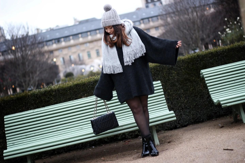 pull oversize, bonnet hm, h&m, total look hm, echarpe grise, pull hm, pull loose, sac inspi chanel, bottines vernies, bottines femme, blog mode, the green ananas