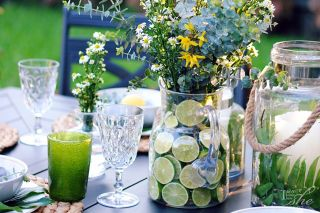 Create lime vase for flower arrangement