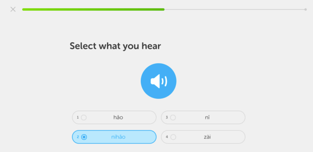 Duolingo listening exercises