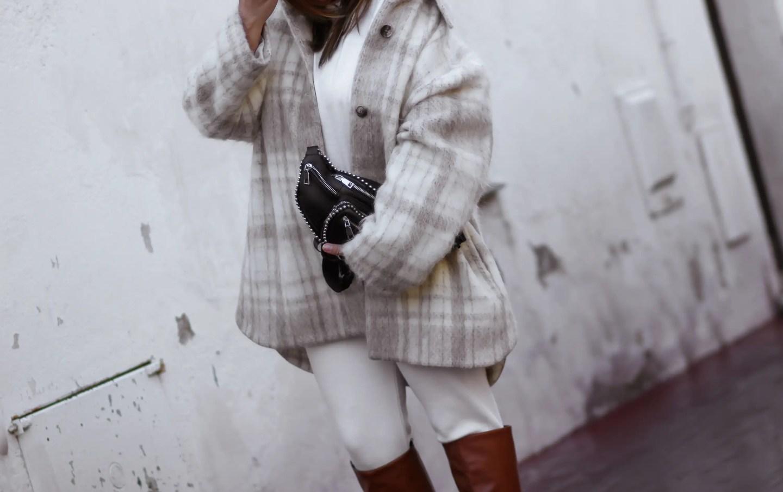 the green ananas, blog mode, pinterest, instagram, blogueuse mode, and other stories, veste chemise femme, veste carreaux femme, shein, sac banane, bottes marron, hm, surchemise femme, veste surchemise & bottes en simili