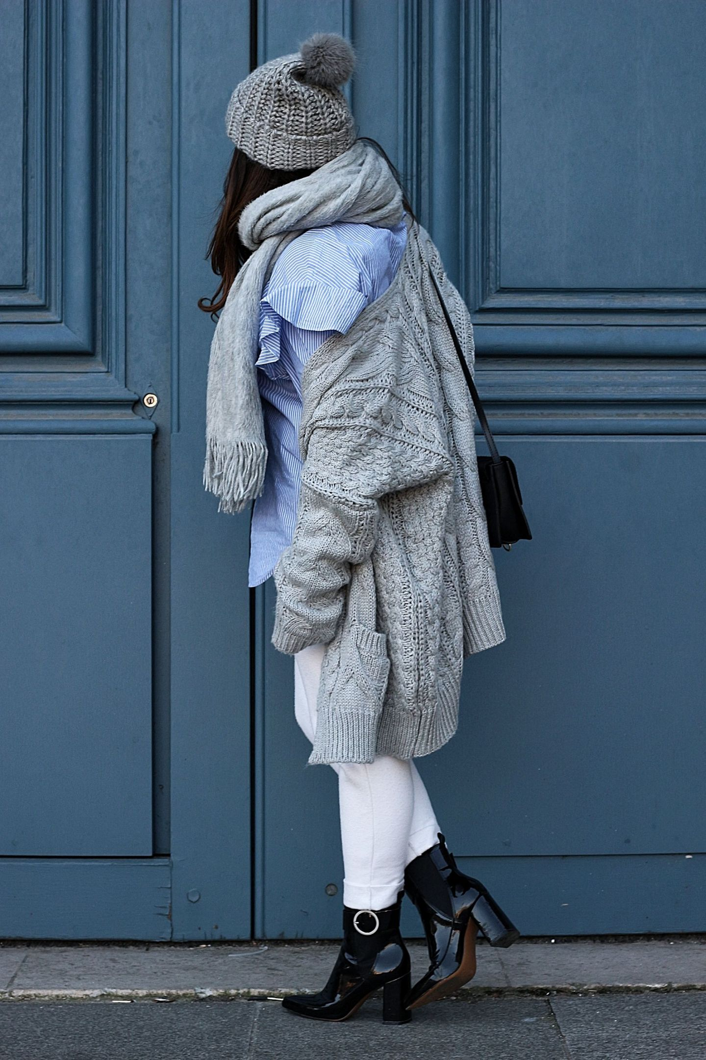 jogging zara, zara, shein, gilet grosse maille, gros gilet, h&m, bottines h&m, chemise oversize, chemise loose, chemise zara, blog mode, the green ananas, blogueuse mode, look cosy, jogging