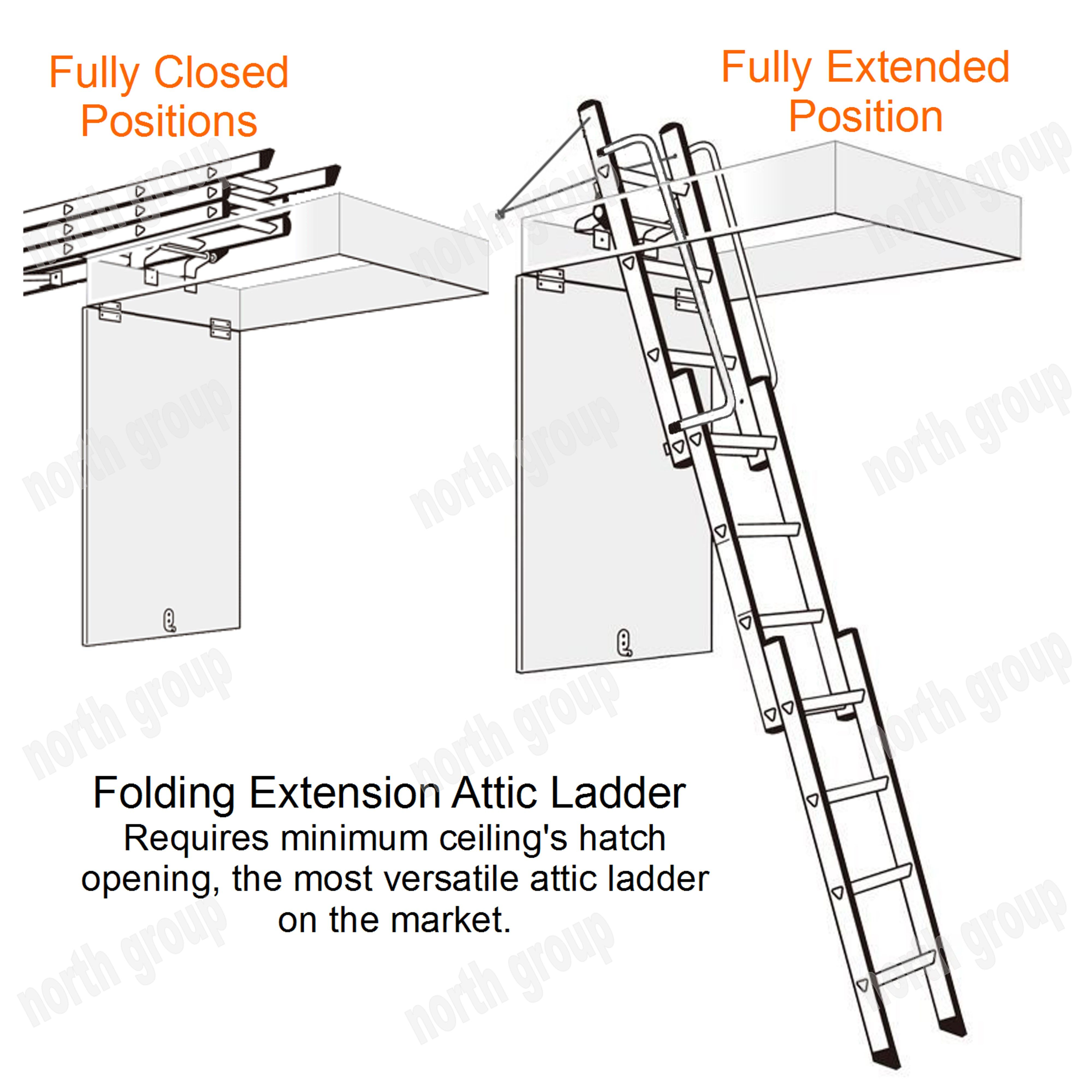 New Aluminium Attic Loft Folding Extension Ladder Diy Home