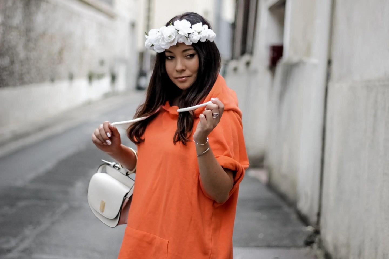 sweat orange, zara, forever 21, pull and bear, espadrilles femme, espadrilles clous, espadrilles blanches, boheme, boho, blog mode, blogueuse, mode, the green ananas, orange, boho, gypsy