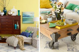 yellow family room coffee table spring 2013