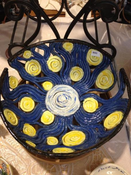 This is an example of Devaney's coil bowls... this one was called Starry Starry Night, in homage to VanGogh's famous painting.  As it should, this sold when she first put it out for sale at Trinity in January.