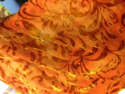 "Cut Velore Sweet Potato Shawl (Velvet Rayon on a field of lightweight Silk) 18""x75"""