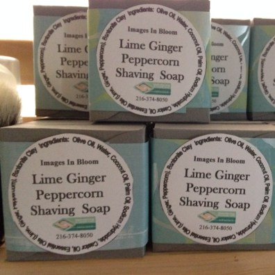 Shave Soap in three flavors: Lime Ginger Peppercorn, Sandalwood and Bay Rum